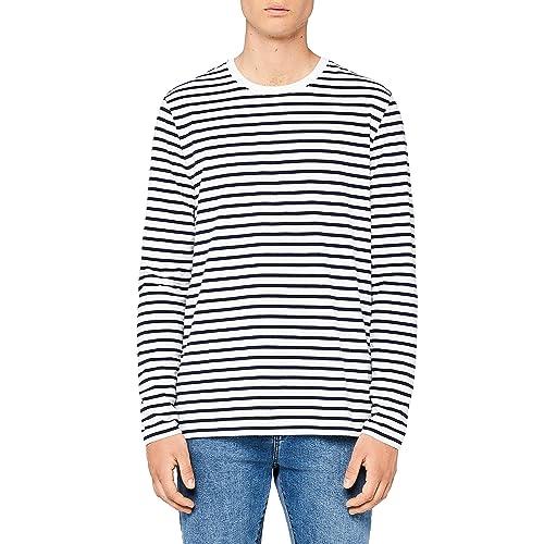 354bc8da679 MERAKI Men s Cotton Regular Fit Striped Long Sleeve T-Shirt