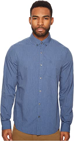 Long Sleeve Heathered Stretch Cotton Shirt