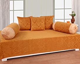 The World Trendz 3D Embossed 6 Piece diwan Set-(1 diwan bedsheet, 3 Cushion Covers, 2 Bolster Covers, Multicolor)