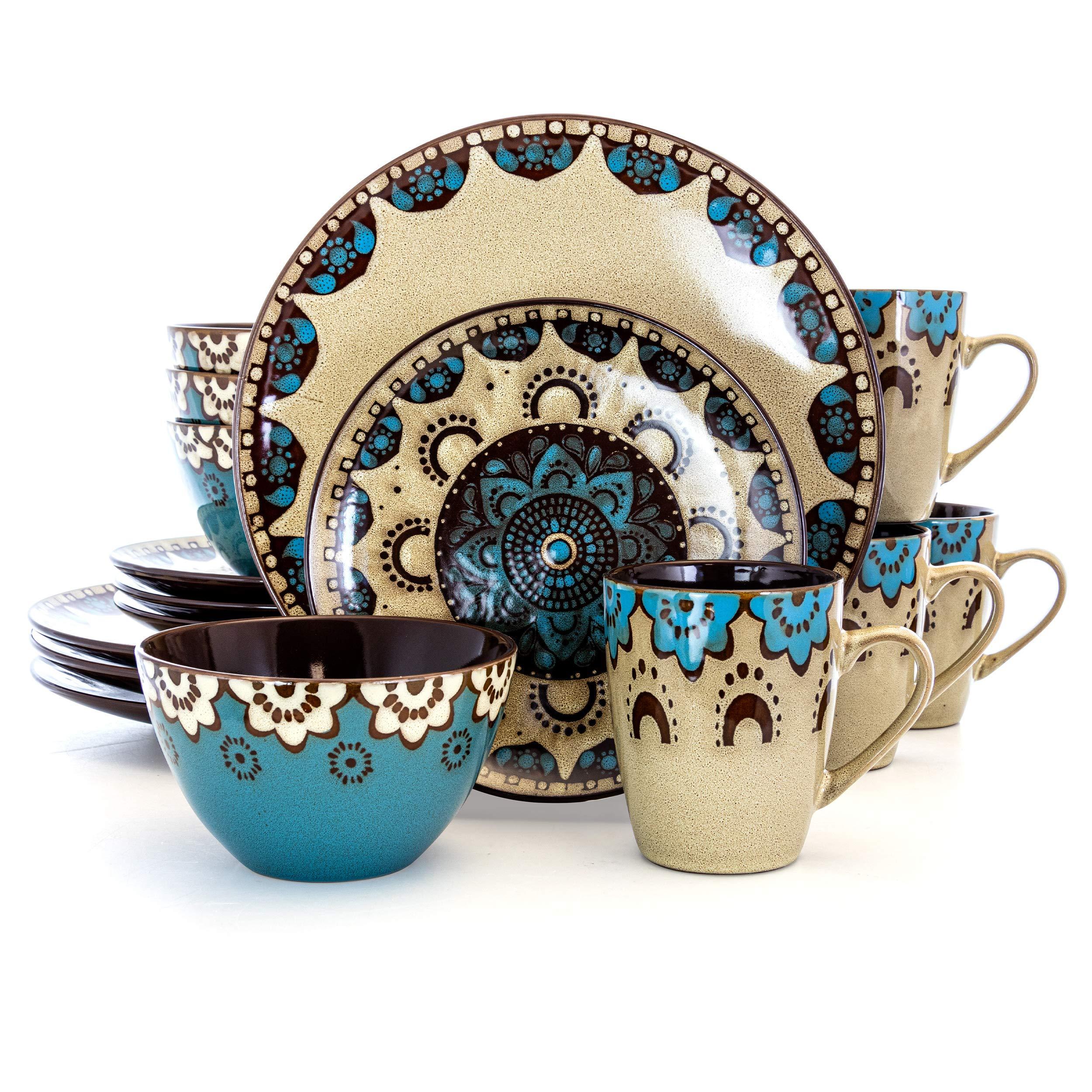 Elama CLAYHEART16 Luxurious Stoneware Dinnerware