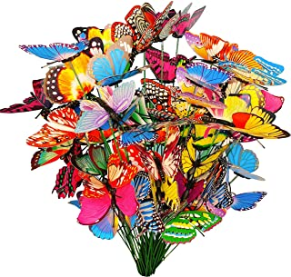 50 Pcs Butterfly Stakes, Waterproof Butterflies Stakes Garden Ornaments & Patio Decor Butterfly Party Supplies Yard Stakes...