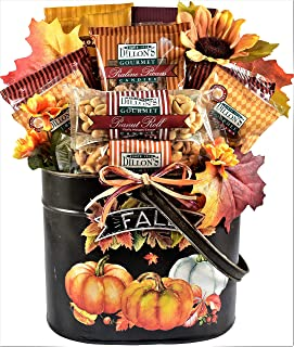Autumn Splendor - Deluxe Fall Gift Basket (Large) - Fall Gift in Painted Metal Planter with Praline Pecans, Nut Log Rolls and More, 6 Pounds