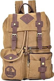 Ornate Canvas Backpack - Vintage Bookbag - Rucksack with Adjustable Straps