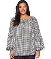 Plus Size Gingham Bell Sleeve Top