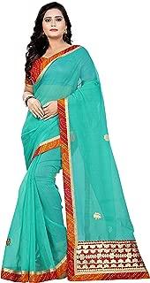 Jaanvi fashion Women's Net Bandhej Gota Work Saree (gota-Patti-Green)