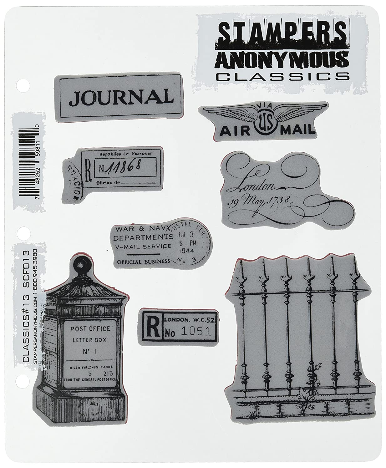 Stampers Anonymous Rubber Stamp Set, 7-Inch by 8.5-Inch, Classics Number 13