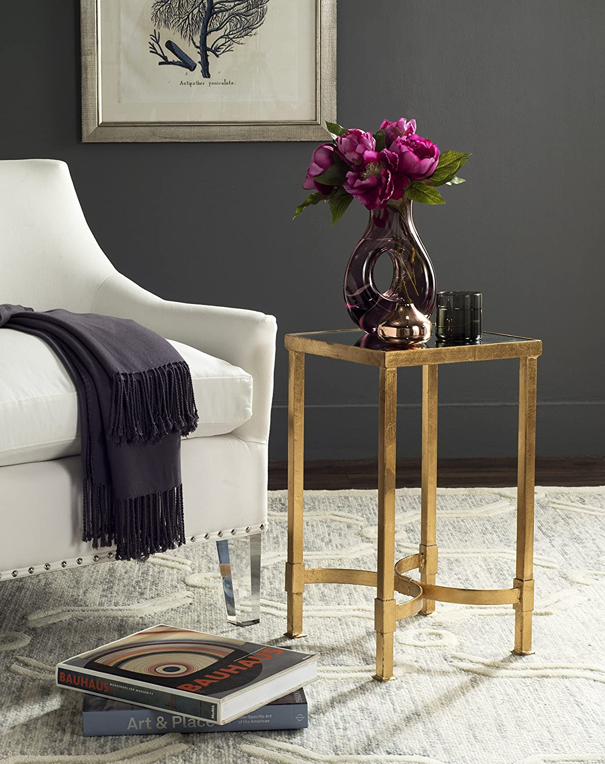 Safavieh Home Collection Halyn Gold Table Las Vegas Mall Safety and trust End Top Leaf Mirror