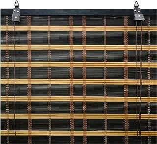 Solagua 6 Modelos 14 Medidas de estores de bambú Cortina de Madera persiana Enrollable (135 x 175 cm, Bicolor)
