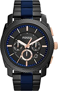 ساعة بسوار من الستانلس ستيل ومينا باللون الاسود للرجال من فوسيل - طراز FS5164