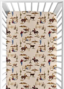 Sweet Jojo Designs Wild West Boy Jersey Stretch Knit Baby Fitted Crib Sheet for Soft Toddler Bed Nursery - Red, Blue, Tan Western Cowboy Southern Country Horse