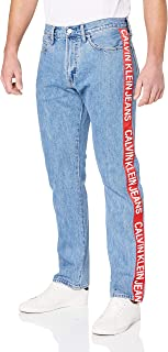 Calvin Klein Jeans Men's Ckj 035 Mid Rise Straight Jeans, Iconic Mid Stone Side Stripe, 31 32