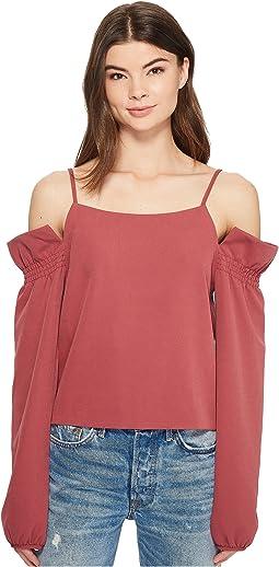 Bubble Sleeve Cold Shoulder Top