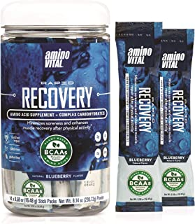 Amino VITAL Rapid Recovery- BCAAs Amino Acid Post Workout Powder Packets | Muscle Recovery Drink with Glutamine | Vegan, G...