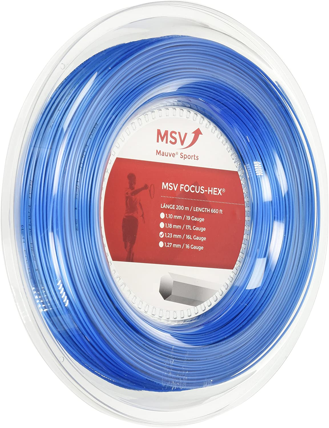 MSV Focus HEX Discount mail order 16L 1.23mm Online limited product Sky 200m Tennis Strin Blue 660ft Reel