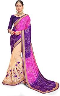 Sarees for Women Faux Georgette Embroidered Saree l Indian Wedding Ethnic Sari with Blouse Piece