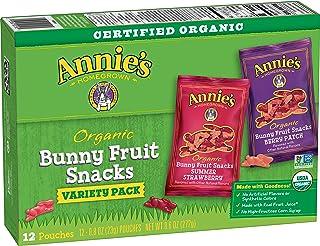 Annie's Organic Bunny Fruit Snacks, Variety Pack, Gluten Free, 12 ct, 9.6 oz
