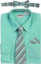 Gioberti Boy's Long Sleeve Dress Shirt + Plaid Tie, Bow Tie and Hanky