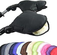 BAMBINIWELT universaler Muff/Handwärmer für Kinderwagen, Buggy, Jogger mit Wolle, 2-TEILIG, Uni schwarz XX
