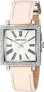 Anne Klein Women's AK/2939SVLP Swarovski Crystal Accented Silver-Tone and Light Pink Leather Strap Watch