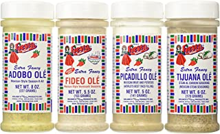 Bolner's Fiesta Extra Fancy Mexican Seasoning 4 Flavor Variety Bundle, (1) each: Adobo Ole', Tijuana Ole' Steak Al Carbon, Picadillo Ole' Mexican Meat, Fideo Ole' Mexican Vermicelli , 5-8 Oz. Ea.