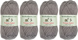 BambooMN Cotton Select Sport Weight Yarn - 100% Fine Cotton - 4 Skeins - Col 310 - Sterling Grey
