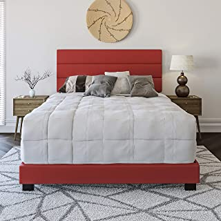 Boyd Sleep Montana Upholstered Platform Bed Frame with Tri-Panel Design Headboard: Faux Leather, Queen, Red
