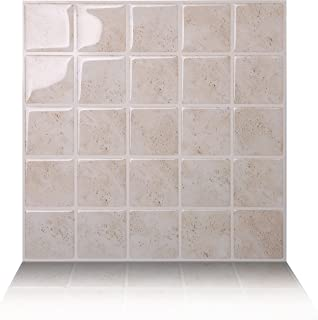 Tic Tac Tiles 10-Sheet Peel and Stick Self Adhesive Removable Stick On Kitchen Backsplash Bathroom 3D Wall Sticker Wallpaper Tiles in Marmo Travertine