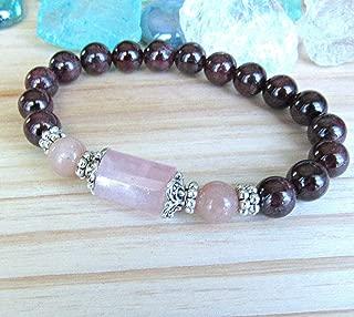 Goddess bracelet, Garnet Bracelet with Rose quartz & peach moonstone, Fertility bracelet, red mala, custom to fit sizing, Passion bracelet, reiki charged