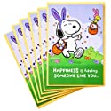Hallmark Peanuts Pack of Easter Cards, Snoopy Jelly Beans (6 Cards with Envelopes)