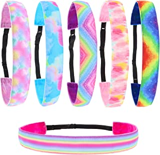 FROG SAC 6 PCS Tie Dye Elastic Headbands for Girls, Non Slip Hair Bands, Stretchy Adjustable Rainbow Girl Head Bands for T...