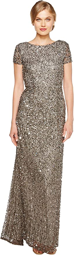 Adrianna Papell - Cap Sleeve Scoop Back Beaded Down Gown