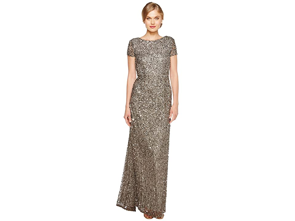 Adrianna Papell Cap Sleeve Scoop Back Beaded Down Gown (Lead) Women