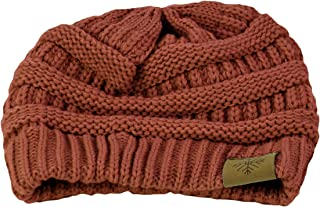 BRAND NEW WOMENS LADIES CHUNKY KNIT BROWN MARL HAT CAP /& SCARF BNWT