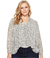 Lucky Brand Plus Size Beaded Floral Peasant Top