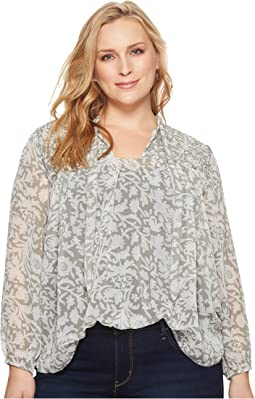 Plus Size Beaded Floral Peasant Top