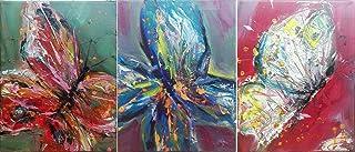 """Pintura Abstracta 3 piezas en 1 Lienzo al Óleo Arte Moderno """"MARIPOSAS EN MI ESTOMAGO"""" por DOBOS, Cuadro para Decoración d..."""