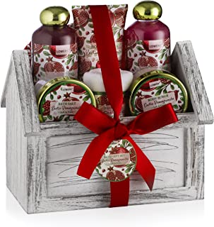 Mother's Day Home Spa Gift Basket, 8 Piece Bath & Body Set For Men/Women, Exotic Pomegranate Scent With Shower Gel, Bubble Bath, Body Lotion, Bath Salt, Body Scrub, Towel, Cosmetic Bag & Wood Case