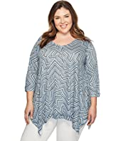 Nally & Millie - Plus Size Zigzag Print Tunic