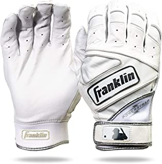 Franklin Sports Chrome Powerstrap™ Batting Gloves - White - Youth Medium