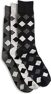 Harbor Bay by DXL Big and Tall 3-pk Opaque Diamond-Pattern Crew Socks, Black Assorted