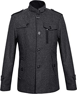 Zenthace Men's Winter Wool Blend Pea Coat Single Breasted Military Peacoat Jacket