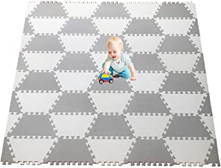 "Red Suricata Playspot Foam Hexamat – Geo Interlocking Baby Play Mat - Baby Playmat for Kids, Infants & Toddlers – 79"" x 60"" or 74"" x 63"" Foam Floor Play Mat - Patent Pending (Ghost White/Grey"