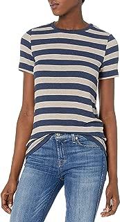 Three Dots Women's Stripe Rib T-Shirt Crew Neck