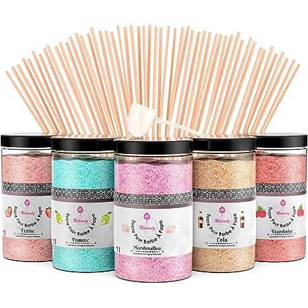 Misskandy, sucre barbe à papa pour machine/ lot de (5*300Gr)= 1,5kg/ arômes:Fraise, Pomme, Marshmallow, Cola, Framboise/ poudre barbapapa+ 50 bâtonnets de 30 cm (offerts)