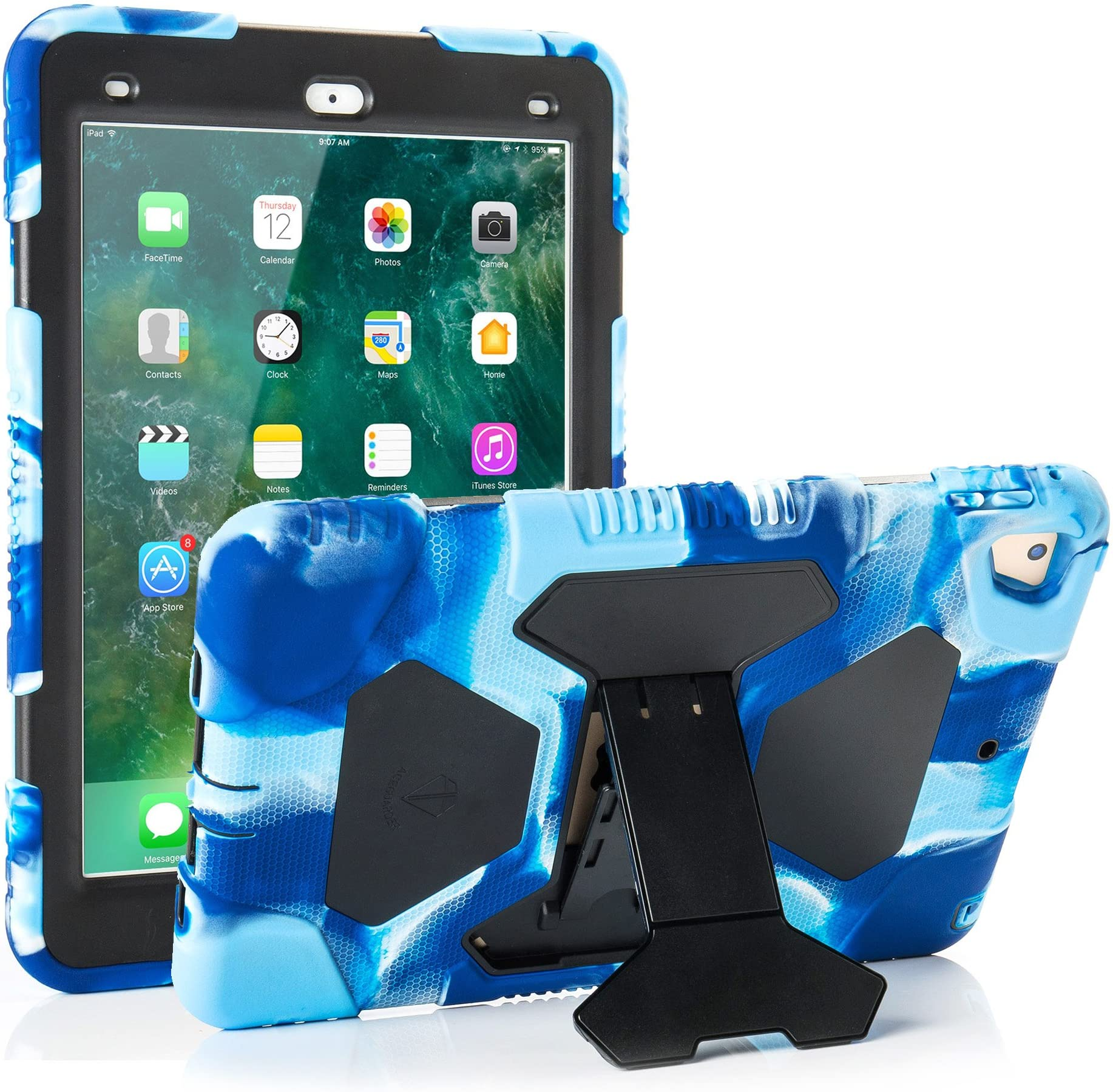 iPad 9.7 2018/2017, iPad Air 2, iPad Pro 9.7 Case for Kids Full Body Protective Shockproof Cover with Adjustable Kickstand for iPad 9.7 5th / 6th Generation (Navy/Black)