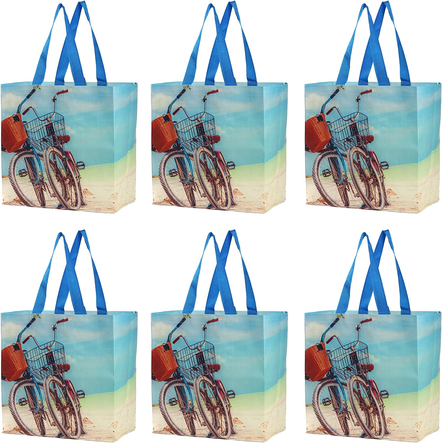 Earthwise Reusable Grocery Bags Shopping Totes Stylish Gift Bag Heavy Duty Laminated Material Beach Print(Pack of 6)