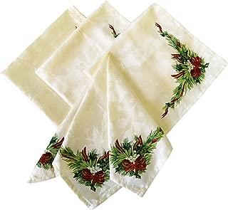 Benson Mills Christmas Ribbons Engineered Printed Fabric Napkins, Set of 4, 19x19