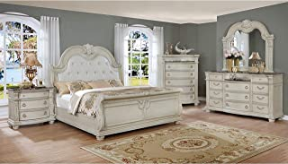 Esofastore Formal Classic 4pc Set Queen Size Bed Dresser Mirror Nightstand White Finish Nightstand Bedroom Furniture