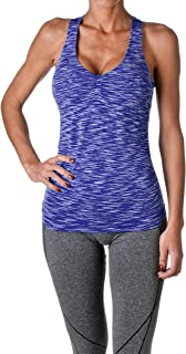 Womens Actives Racerback Yoga Workout Exercise Top with Built-in Shelf Bra