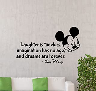 Laughter is Timeless Wall Decal Walt Disney Quote Mickey Mouse Decor Vinyl Sticker Baby Lettering Gift Kids Room Art Stencil Nursery Decor Mural Removable Poster 144ct